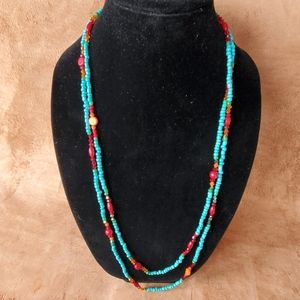 1 continuous strand small beaded necklace